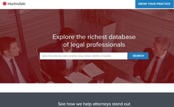 "Lawyer Directories - list of 20 directories - ""Martindale"" homepage"