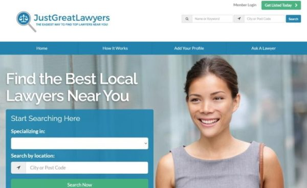 "Lawyer Directories - list of 20 directories - ""JustGreatLawyers"" homepage"