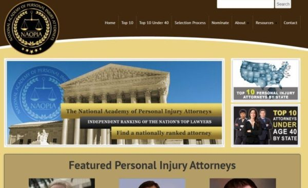 "Lawyer Directories - list of 20 directories - ""National Academy of Personal Injury Attorneys (NAOPIA)"" homepage"