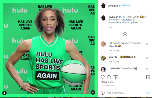 "Social Media in Sports Marketing -  ""Hulu has live sports again"" campaign post on Instagram"