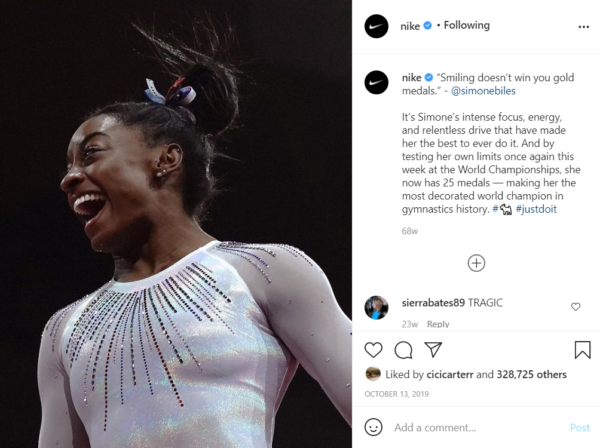 Social Media in Sports Marketing - Nike highlighting women's gymnastics on their Instagram account