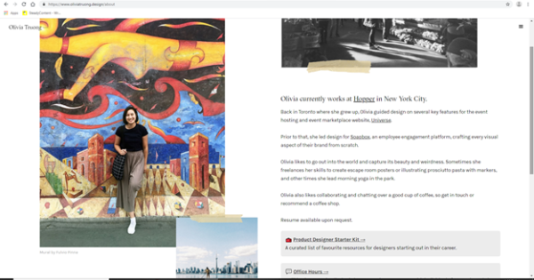 Best Portfolio Websites - Oliva Truong's About page