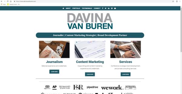 Best Portfolio Websites - Davina Van Buren's portfolio homepage