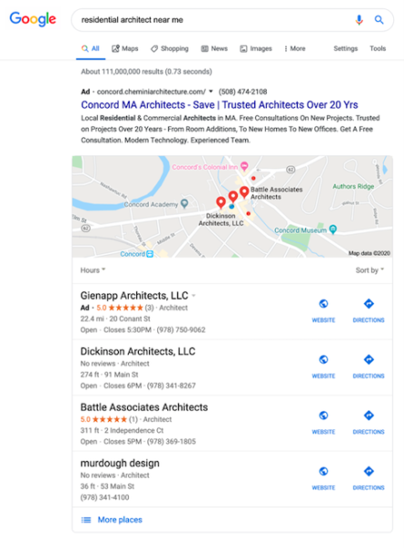 administrative services advertising - Google Ads appear at the top of a SERP
