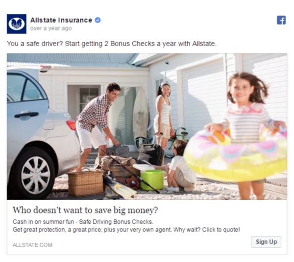 Allstate Insurance Social Media uses imagery of young families
