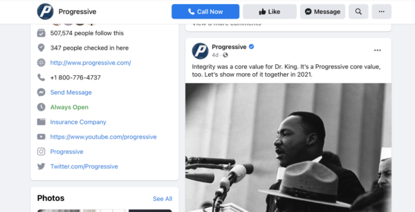 On MLK Day, Progress used their Insurance Social Media so talk about company values
