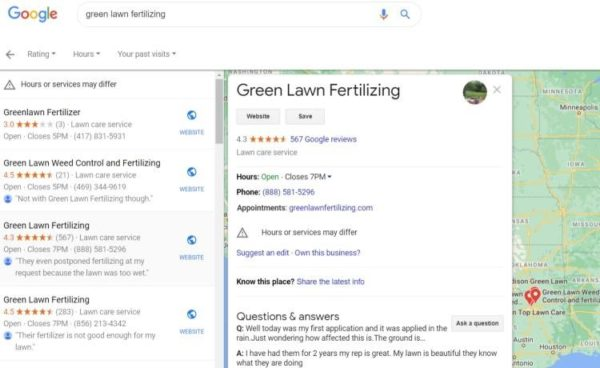 Lawn Care Advertising - Start with Google My Business, update your listing and responde to reviews