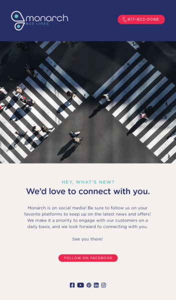 Email Marketing for Logistics includes an email asking readers to connect via social media