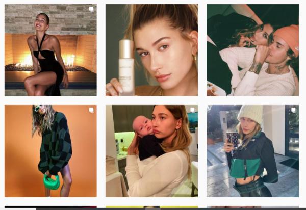 beauty influencer program on Instagram - influencer: Hailey Bieber, brand: bareMinerals