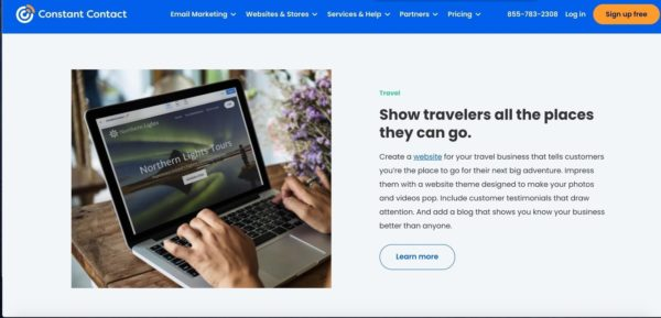 campground marketing idea - use Constant Contact's Website Builder