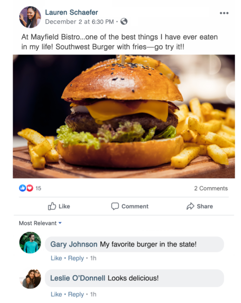 restaurant reputation management includes liking and sharing positive social reviews like this one