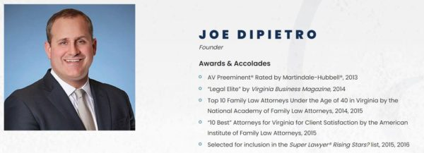 Joe DiPietro displays his awards as part of his Bio on his law firm website