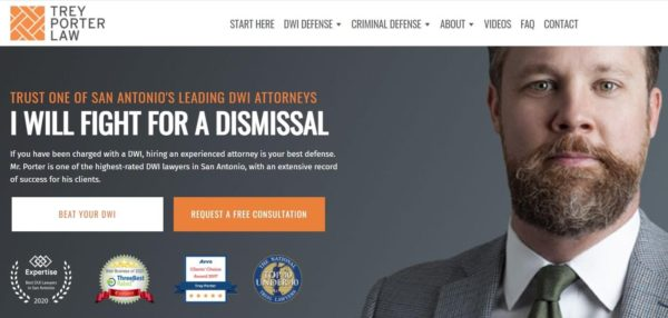 Trey Porter Law places award logos on the home page of their law firm website