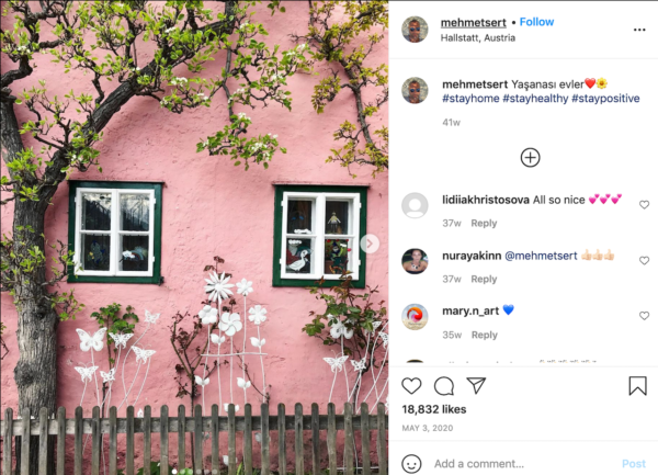Best Travel Instagrams - Mehmet Sert post of a pink wall and soft greenery