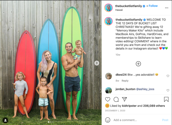 Best Travel Instagrams - post of the Lee family poising infront of colorful surfboards of varying sizes