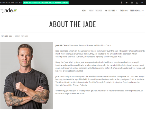 personal trainer biography - Jade McClure