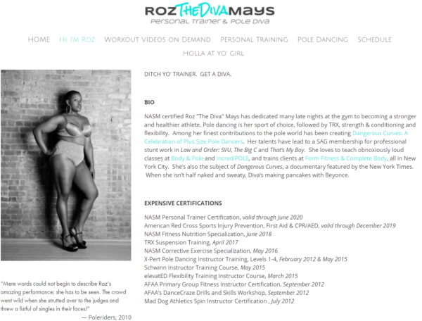 "personal trainer biography - Roz ""The Diva"" Mays"