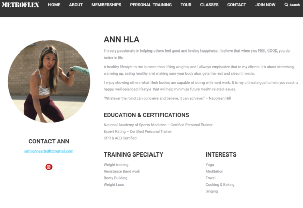 personal trainer biography - Ann Hla