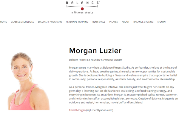 personal trainer biography - Morgan Luzier