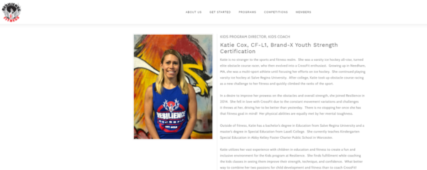 personal trainer biography - Katie Cox