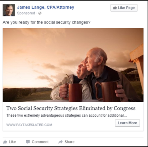 financial advisor ads - ad that is micro-targeted for seniors living on social security