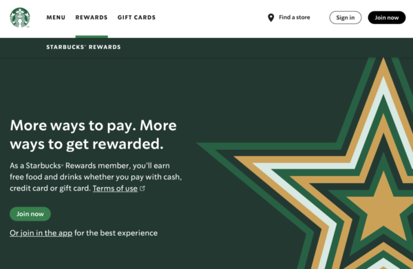 restaurant's loyalty program - Starbucks rewards sign up page