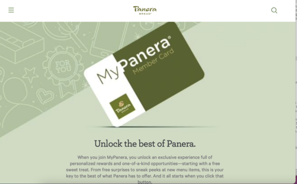 "restaurant's loyalty program - Panera bread tells customers to ""unlock the best of Panera"""