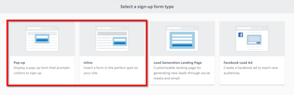 Constant Contact in-product  email list sign up tools - website forms pop-up and inline options
