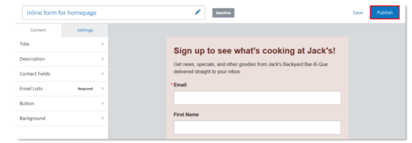 Constant Contact in-product - activating sign-up form while in the editing mode