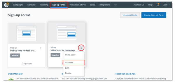 """Constant Contact in-product activating website sign-up forms while on the """"Sign-up Forms"""" tab"""