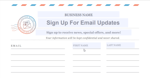Constant Contact email list sign up tools - printed out paper sign-up form