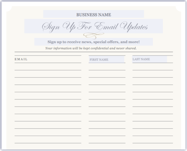 Constant Contact signup sheet example - one out of eight different designs
