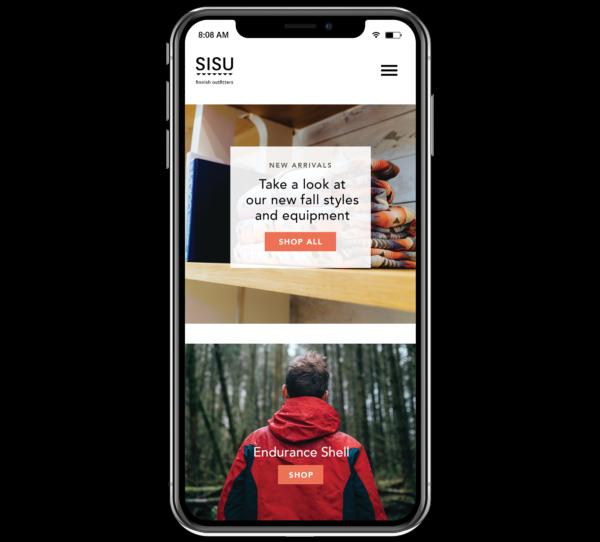 mock-up of a mobile-responsive website -- a must for ecommerce website design