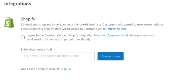 Connect Constant Contact to Shopify