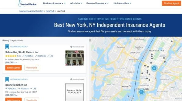 Trusted Choice insurance agent reviews and listings site