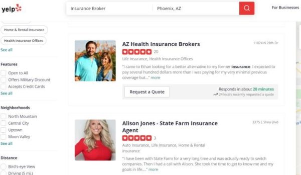 claim your insurance agent listing on Yelp