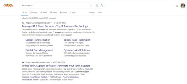 A Google Ad will place your business at the top of the search, gaining you more tech support leads
