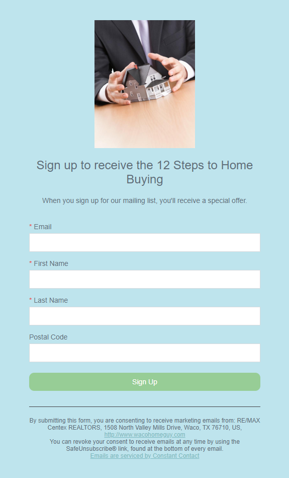 Example lead generating real estate landing page