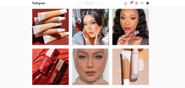 Fenty beauty posts include images of women with diverse looks and skin tones