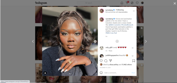 Marketing in the beauty industry includes hiring social media influencers, like Nyma Tang, to show off products to their followers