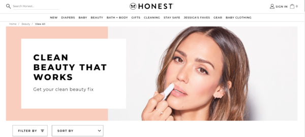 """marketing in the beauty industry - Honest focuses on their """"clean"""" products"""
