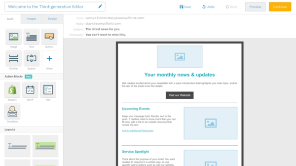 Constant Contact's wysiwyg email editor with drag-and-drop blocks