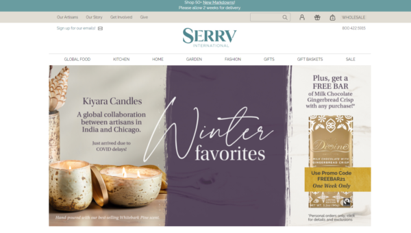 The merchandise on Serrv's nonprofit online store carries fair-trade products