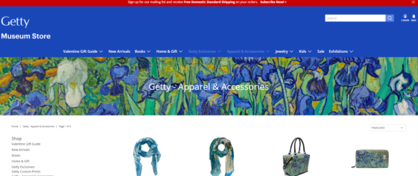 The Getty Museum online store sells items that celebrate the images in their gallery