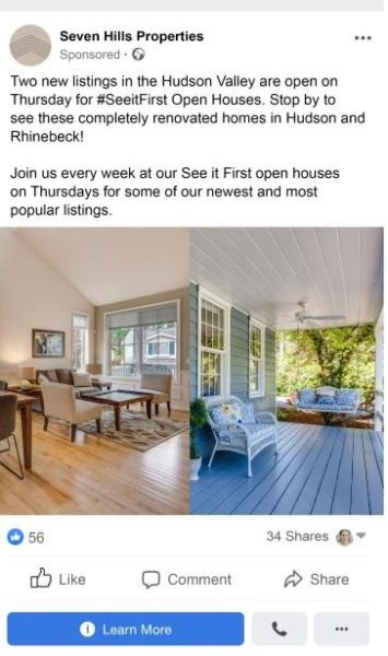 Facebook ad with great images and just enough information to entice prospective buyers