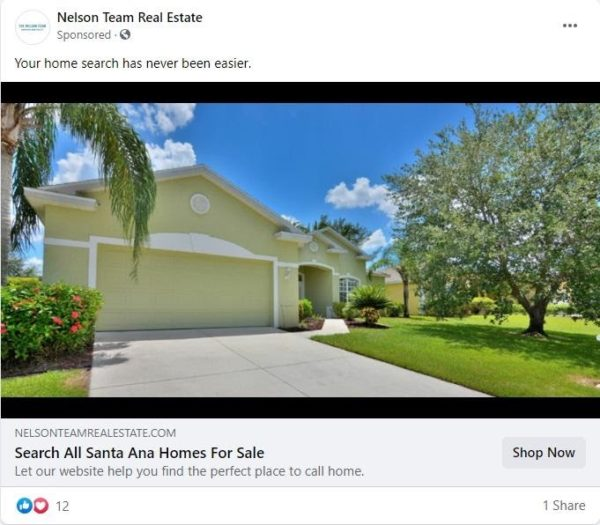 real estate Facebook ad examples -   FB ad that showcases a quality image with a tag line about help finding the perfect home