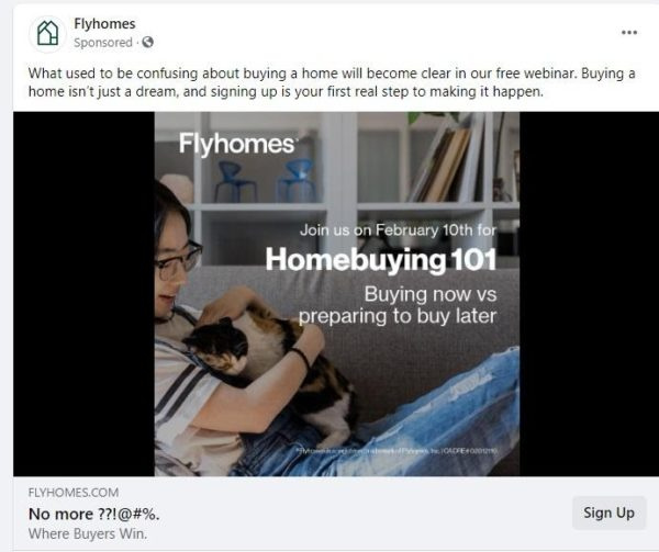 real estate Facebook ad examples - this ad offers a free resource for first time homebuyers