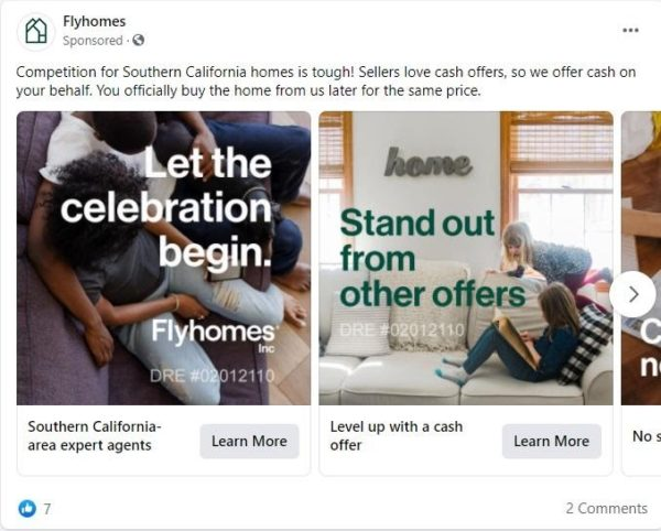 This Facebook ad targets couples and families by using a carousel of images