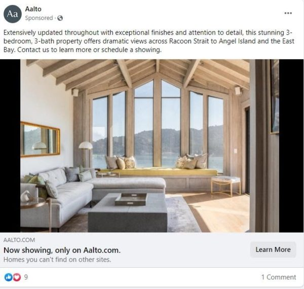real estate Facebook ad examples - A Facebook ad that capitalizes on the exclusivity of a property