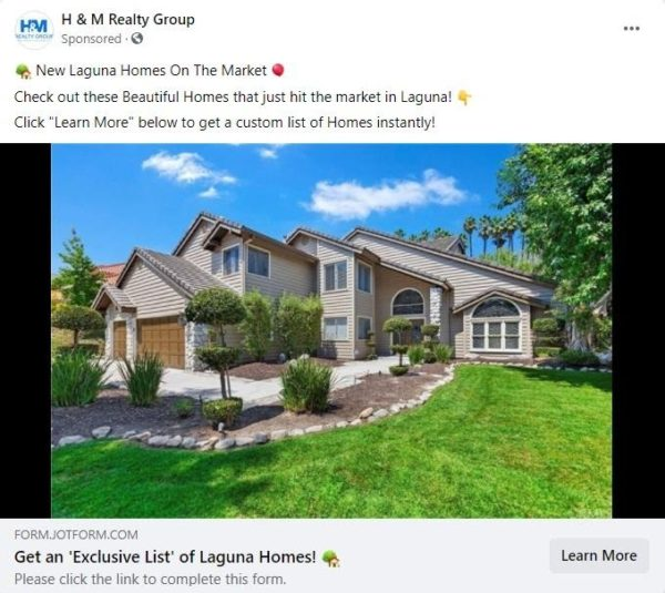 Example of a Facebook ad that offers a list of available homes located exclusively in one area